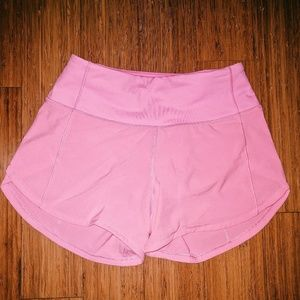 "lululemon light pink speed up shorts 4"""
